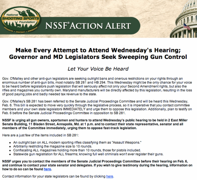 NSSF Action Alert Maryland