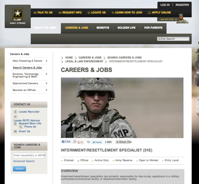 US Army Internment Specialist