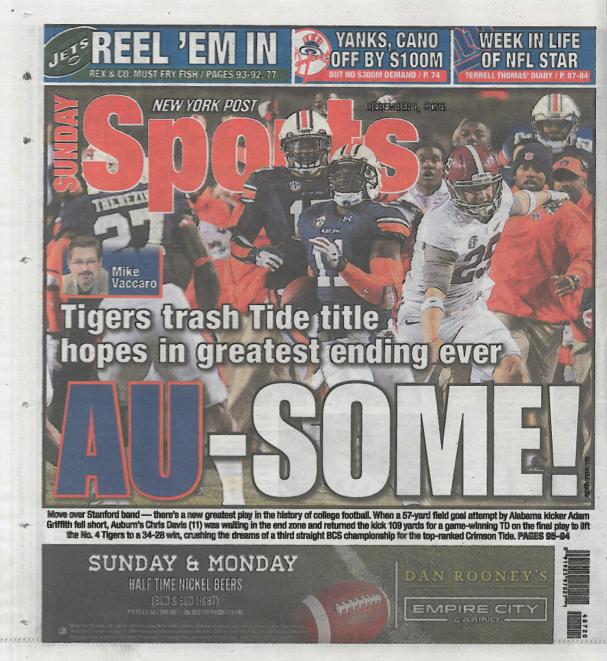 Auburn IB NY Post Back Page