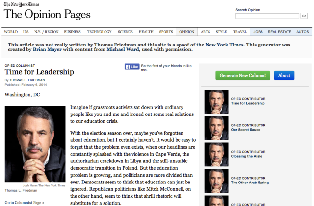 Thomas Friedman Op:ED Generator