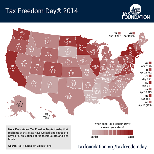 Tax Freedom Day 2014 Map_0