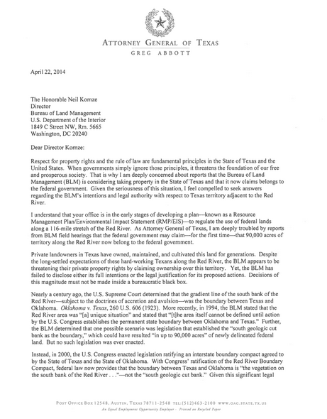 Texas AG Letter To BLM