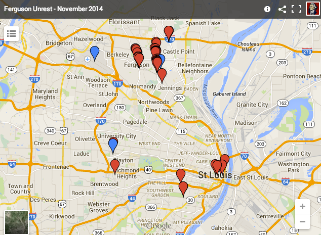 Ferguson Interactive Map To Violence
